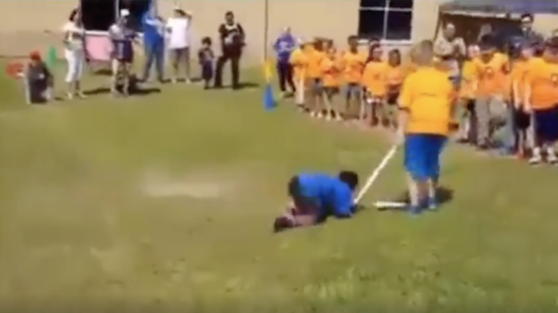 Teacher cheats and moves the finish line after he had already won!